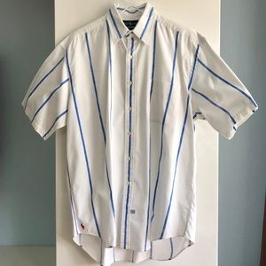 Ralph Lauren Men's Shirt Short Sleeve White Blue L